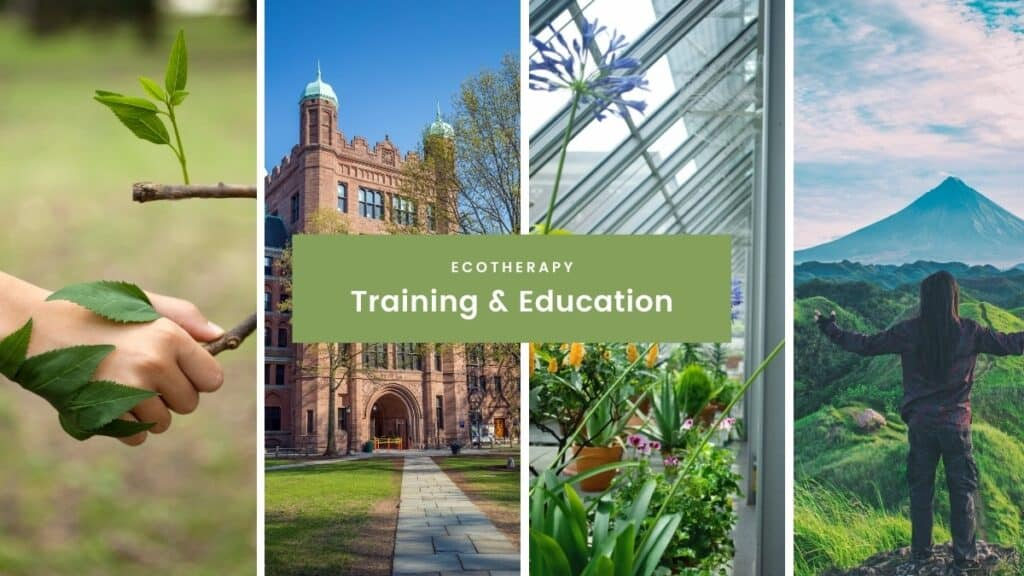 ecotherapy training & education collage - person holding leaves, university building, plants in a greenhouse and woman outdoors connecting with nature