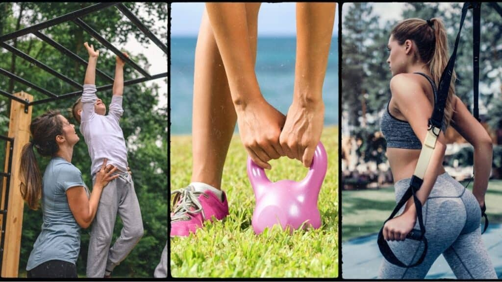 collage of outdoor gym ideas - junglegym, kettlebells and resistance bands