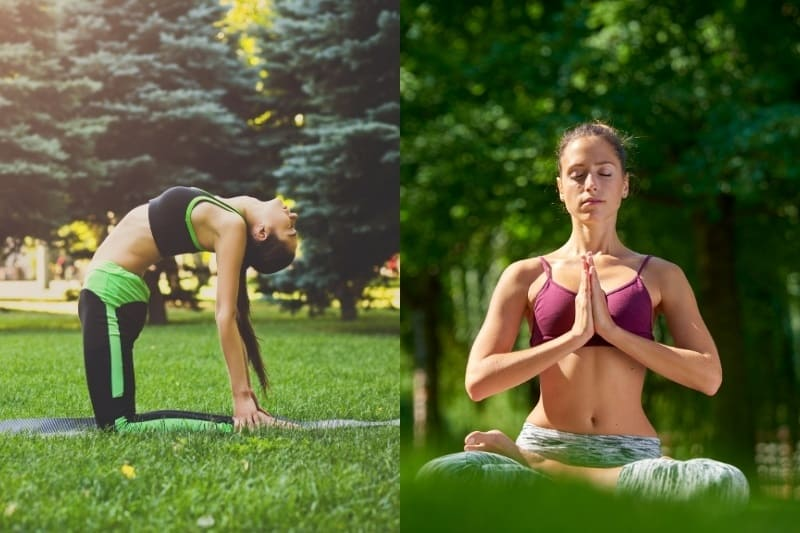 collage of woman doing outdoor yoga and meditation on the grass