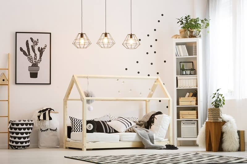 black and white ecofriendly furniture in a childs bedroom