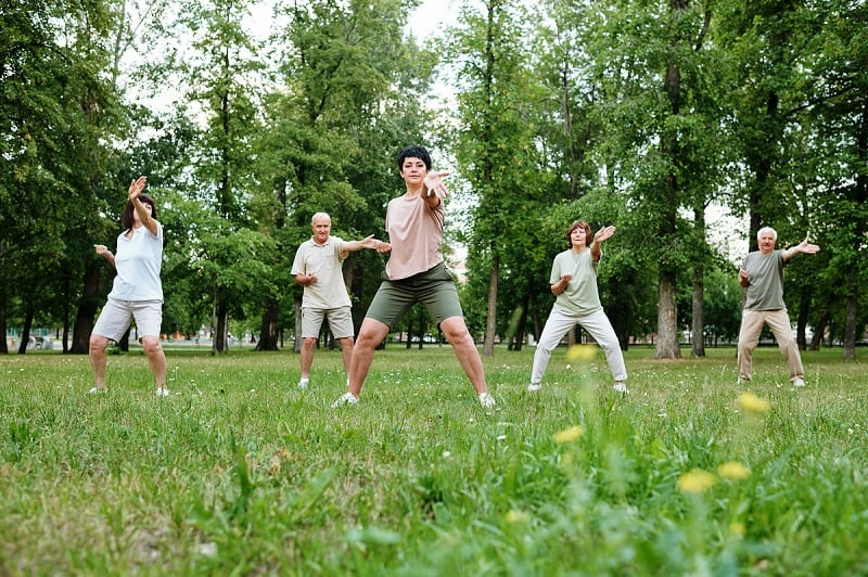 group doing tai kwon do in nature