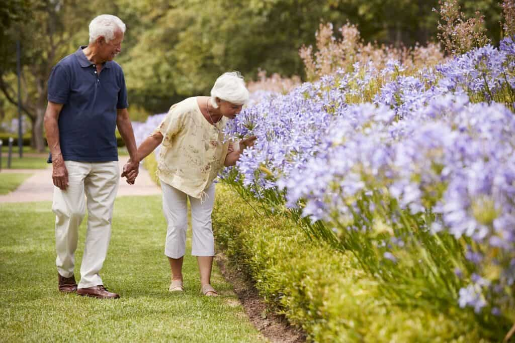 happy senior couple holding hands smelling the flowers in nature