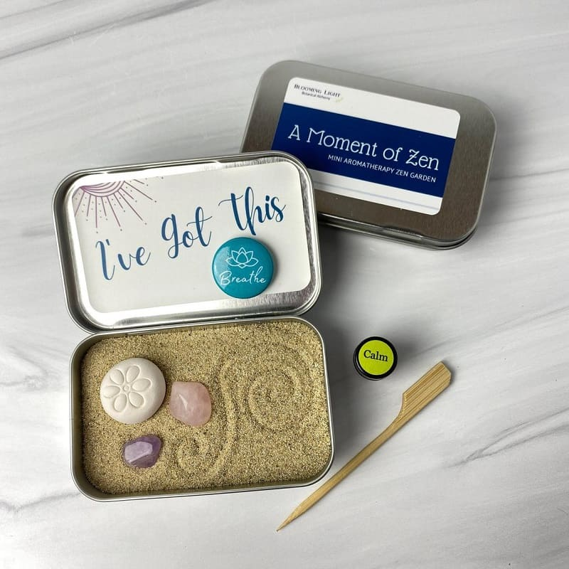 Small handheld Zen tin Kit in a peppermint box