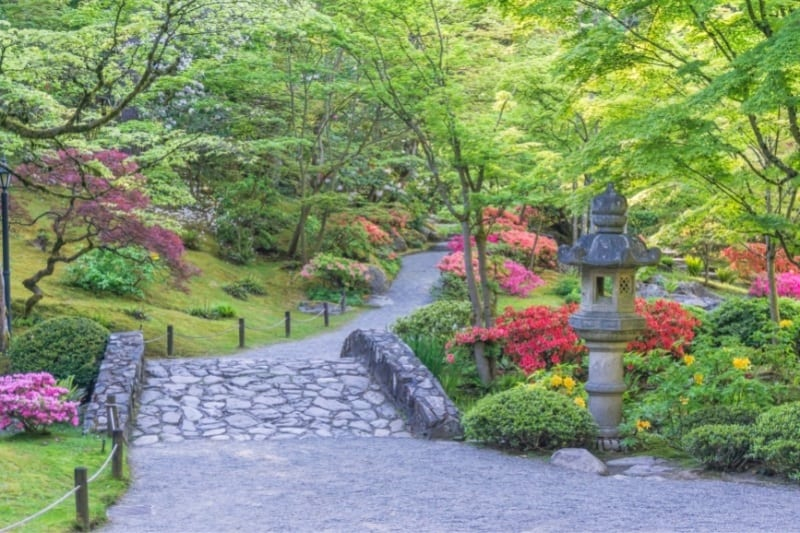 cobblestone path with colorful blooming gardens on either side