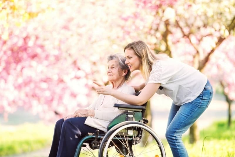 a caregiver helping an older woman in a wheelchair outside with pink trees blooming in the background