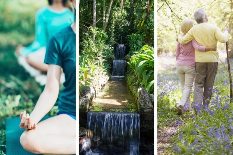 three examples of ecotherapy - a mediation garden, outdoor yoga and older couple walking in nature