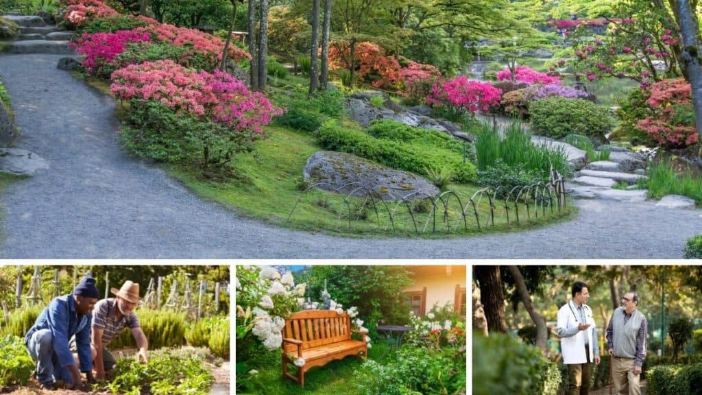 collage of different types of therapeutic gardens