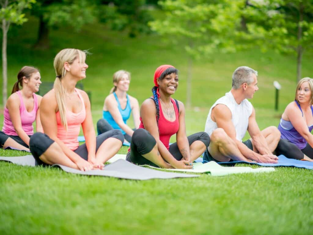 Outdoor yoga class in the park
