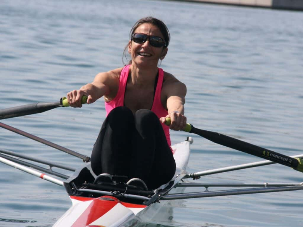 Woman rowing on a lake