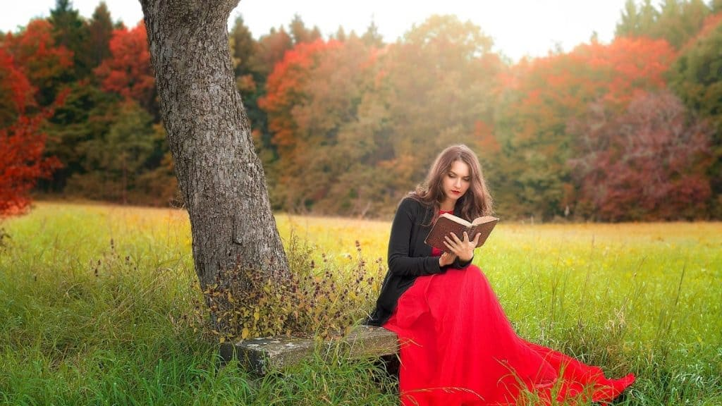 woman sitting under a tree reading a book with a forest in the background