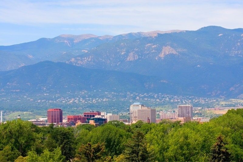 A view of Pikes Peak and Colorado Springs